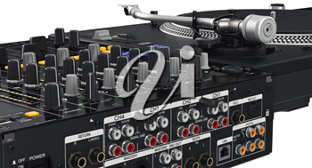 Backside black dj table mixer, ports, controllers, close view, close view. 3D graphic