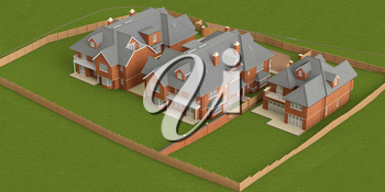 Street of residential cottage style homes, top view. 3D graphic