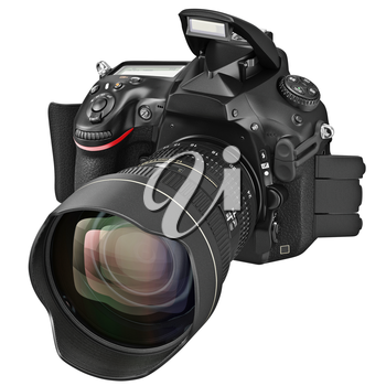 Digital DSLR camera with optical zoom lens, open flash. 3D graphic