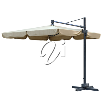 Beige beach umbrella, sun protection. 3D graphic