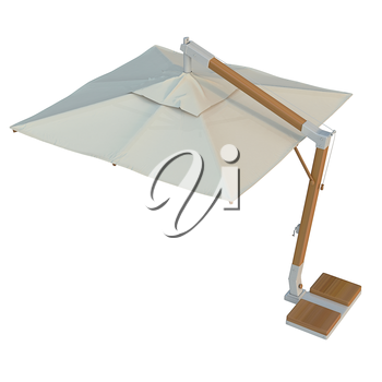 Square open beach umbrella, sun protection. 3D graphic