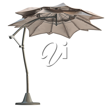 Double open beach umbrella, sun protection. 3D graphic