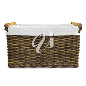 Empty wicker basket with fabric on white background. 3D graphic