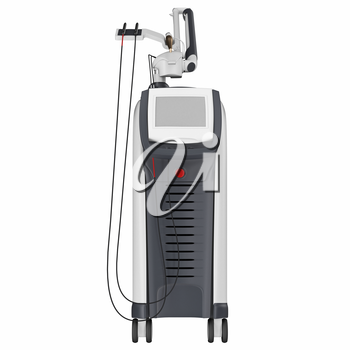 Medical laser device for treatment and beauty care, front view. 3D graphic