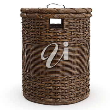 Empty wicker basket on white background, front view. 3D graphic