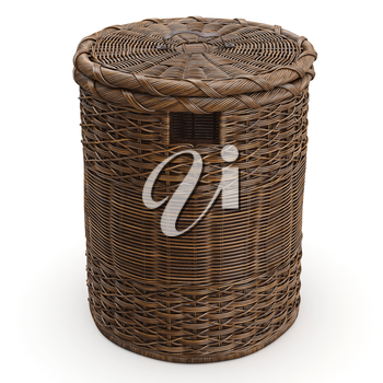 Empty wicker basket on white background. 3D graphic