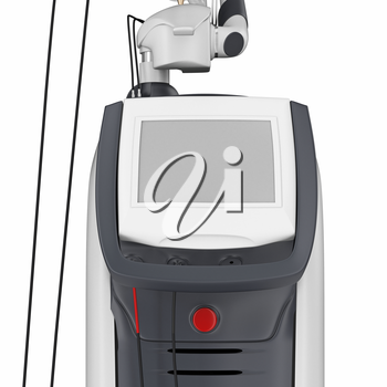 Medical laser device for treatment and beauty care, close view. 3D graphic