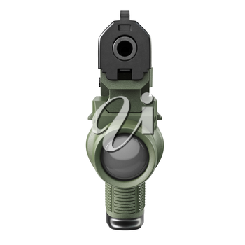 Gun military, police with flashlight, front view. 3D graphic