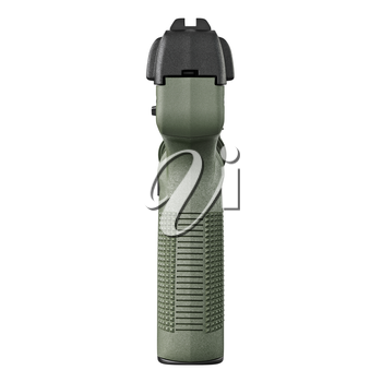 Gun green military police, back view. 3D graphic