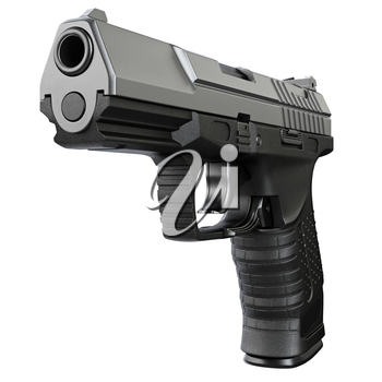 Gun metallic police, military, black on white background isolated, front view. 3D graphic