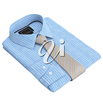Classic checkered men's shirt and tie. 3D graphic