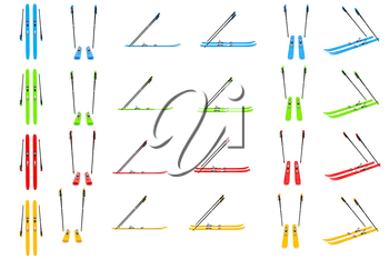 Set sports skiing, ski poles color. 3D graphic
