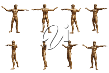 Set statues man with golden metal. 3D graphic. 3D illustration