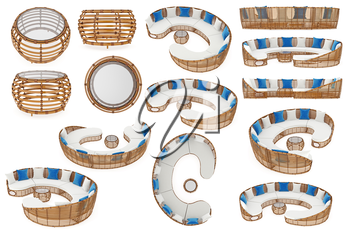 Rattan set patio furnitures, collection. 3D graphic