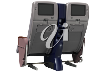 Aircraft chairs gray with digital display. 3D graphic