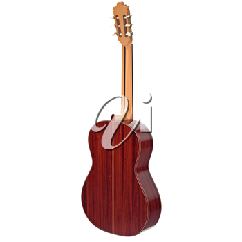 Classical guitar musical instrument, back view. 3D graphic