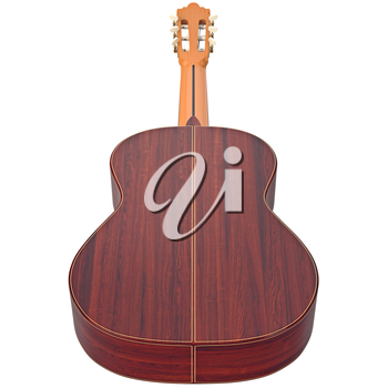 Classical guitar music instrument, back view. 3D graphic