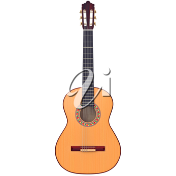Classical guitar acoustic with nylon strings, front view. 3D graphic