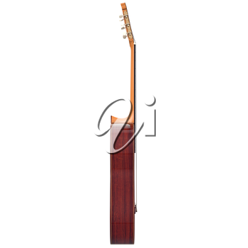Brown wooden acoustic guitar, side view. 3D graphic