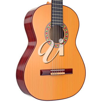 Wooden body acoustic guitar with nylon strings, close view. 3D graphic