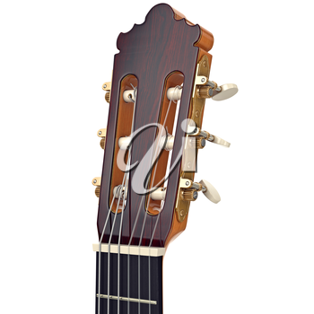 Brown wooden guitar headstock fingerboard with gilded tuning-pegs, close view. 3D graphic