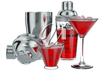 Cocktail shaker metal set with glass cup, open view. 3D graphic