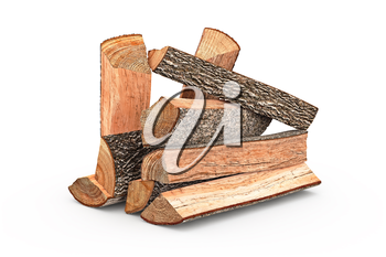 Firewood stack dry chopped, objects. 3D graphic