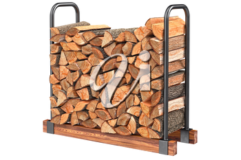 Firewood stack chopped black metal rack. 3D graphic