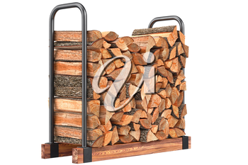 Firewood stack chopped bark on metal rack. 3D graphic