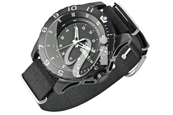 Black military wristwatch with metal arrow. 3D graphic
