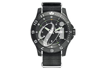 Military watch black, front view. 3D graphic