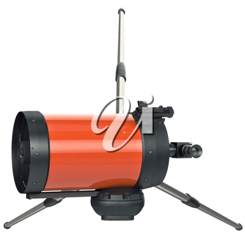 Telescope with viewfinder divise for astronomy, top view. 3D graphic
