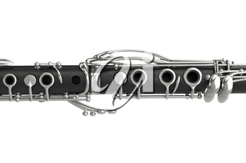 Clarinet woodwind instrument with metal elements, close view. 3D graphic