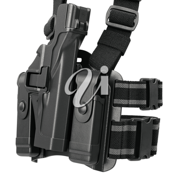 Holster black plastic on belt, close view. 3D graphic