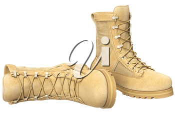 Army boots suede with brown shoelace. 3D graphic