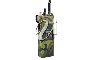 Military portable radio in cover, close view. 3D graphic