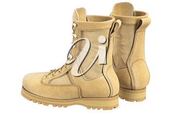Military boots suede soldier gear. 3D graphic