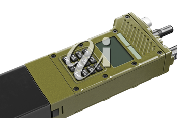 Military khaki digital radio device with buttons, close view. 3D graphic