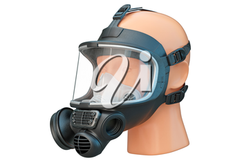 Safety mask rubber for protection from biohazard. 3D graphic