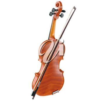 Violin viola wooden classical with bow. 3D graphic