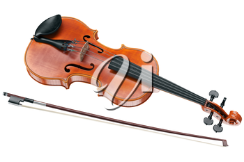 Viola stringed musical instrument with wooden bow. 3D graphic