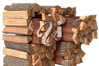 Wood cabinet dresser chopped firewood, close view. 3D graphic