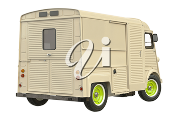 Food truck eatery cafe beige. 3D graphic