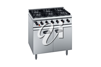 Kitchen equipment professional metal stove. 3D graphic