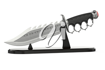 Knife fantasy weapon in pedestal retro style. 3D graphic
