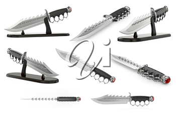 Knife antique weapon in ancient style, set. 3D graphic