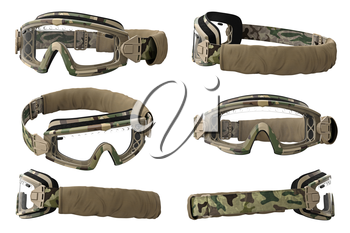 Military goggles, eyeglass camouflage protection set. 3D graphic
