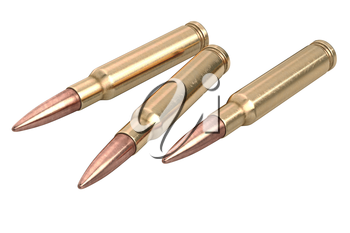 Bullet rifle weapon ammo military firearm. 3D graphic