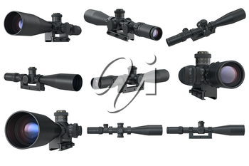 Scope optical rifle accessories set. 3D graphic