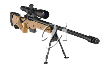 Rifle sniper metal with optical scope. 3D graphic